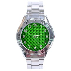 Scales1 Black Marble & Green Brushed Metal (r) Stainless Steel Analogue Watch