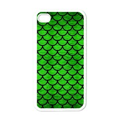 Scales1 Black Marble & Green Brushed Metal (r) Apple Iphone 4 Case (white)