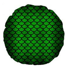Scales1 Black Marble & Green Brushed Metal (r) Large 18  Premium Flano Round Cushions