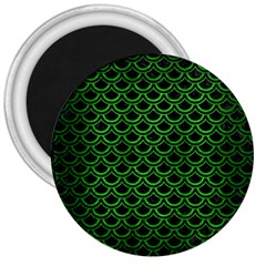 Scales2 Black Marble & Green Brushed Metal 3  Magnets