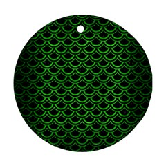 Scales2 Black Marble & Green Brushed Metal Ornament (round)