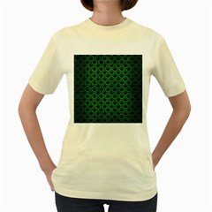 Scales2 Black Marble & Green Brushed Metal Women s Yellow T Shirt