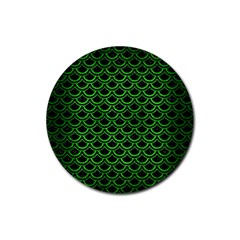 Scales2 Black Marble & Green Brushed Metal Rubber Round Coaster (4 Pack)