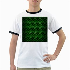 Scales2 Black Marble & Green Brushed Metal Ringer T Shirts