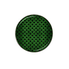 Scales2 Black Marble & Green Brushed Metal Hat Clip Ball Marker (4 Pack)