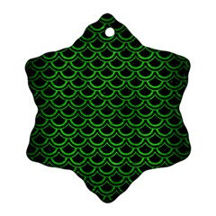 Scales2 Black Marble & Green Brushed Metal Snowflake Ornament (two Sides)