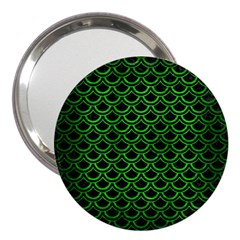 Scales2 Black Marble & Green Brushed Metal 3  Handbag Mirrors
