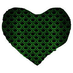 Scales2 Black Marble & Green Brushed Metal Large 19  Premium Flano Heart Shape Cushions