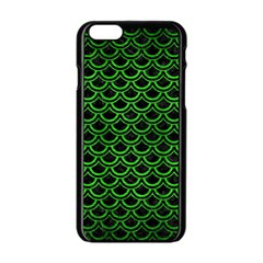 Scales2 Black Marble & Green Brushed Metal Apple Iphone 6/6s Black Enamel Case