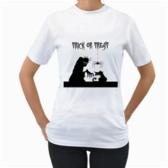 Halloween Women s T Shirt (white) (two Sided)