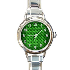 Scales2 Black Marble & Green Brushed Metal (r) Round Italian Charm Watch