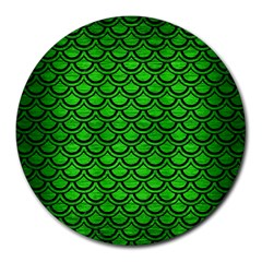 Scales2 Black Marble & Green Brushed Metal (r) Round Mousepads