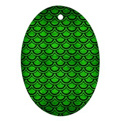 Scales2 Black Marble & Green Brushed Metal (r) Ornament (oval)