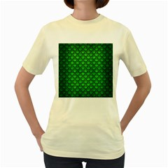 Scales2 Black Marble & Green Brushed Metal (r) Women s Yellow T Shirt