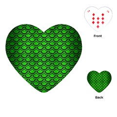 Scales2 Black Marble & Green Brushed Metal (r) Playing Cards (heart)