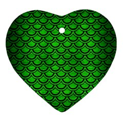 Scales2 Black Marble & Green Brushed Metal (r) Heart Ornament (two Sides)