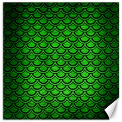 Scales2 Black Marble & Green Brushed Metal (r) Canvas 16  X 16