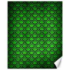 Scales2 Black Marble & Green Brushed Metal (r) Canvas 11  X 14