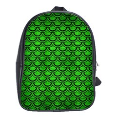 Scales2 Black Marble & Green Brushed Metal (r) School Bag (large)