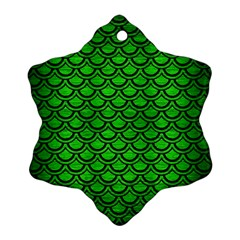 Scales2 Black Marble & Green Brushed Metal (r) Ornament (snowflake)