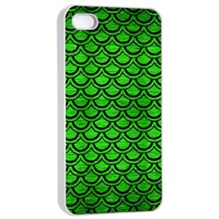 Scales2 Black Marble & Green Brushed Metal (r) Apple Iphone 4/4s Seamless Case (white)