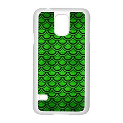 Scales2 Black Marble & Green Brushed Metal (r) Samsung Galaxy S5 Case (white)