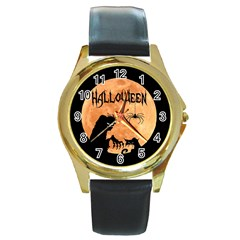 Halloween Round Gold Metal Watch