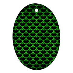 Scales3 Black Marble & Green Brushed Metal Ornament (oval)