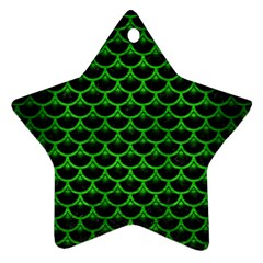 Scales3 Black Marble & Green Brushed Metal Ornament (star)
