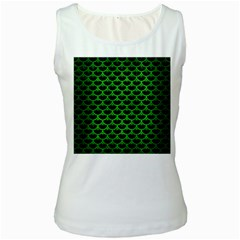 Scales3 Black Marble & Green Brushed Metal Women s White Tank Top