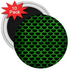 Scales3 Black Marble & Green Brushed Metal 3  Magnets (10 Pack)