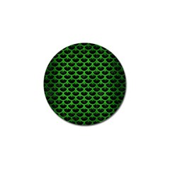 Scales3 Black Marble & Green Brushed Metal Golf Ball Marker