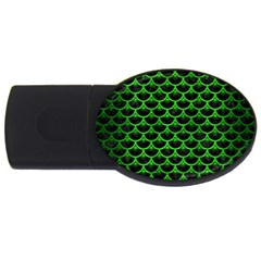 Scales3 Black Marble & Green Brushed Metal Usb Flash Drive Oval (4 Gb)