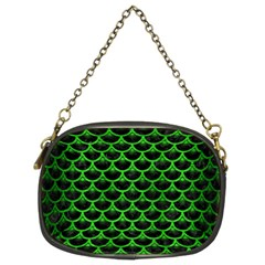 Scales3 Black Marble & Green Brushed Metal Chain Purses (two Sides)