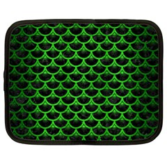 Scales3 Black Marble & Green Brushed Metal Netbook Case (xl)