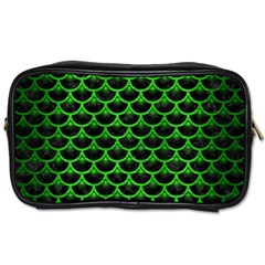 Scales3 Black Marble & Green Brushed Metal Toiletries Bags