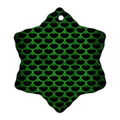 Scales3 Black Marble & Green Brushed Metal Ornament (snowflake)