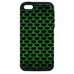 Scales3 Black Marble & Green Brushed Metal Apple Iphone 5 Hardshell Case (pc+silicone)