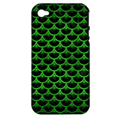 Scales3 Black Marble & Green Brushed Metal Apple Iphone 4/4s Hardshell Case (pc+silicone)