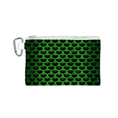 Scales3 Black Marble & Green Brushed Metal Canvas Cosmetic Bag (s)