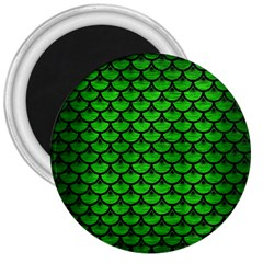 Scales3 Black Marble & Green Brushed Metal (r) 3  Magnets