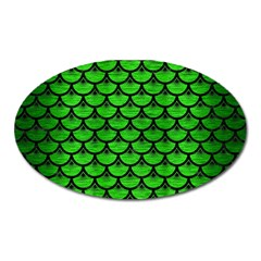 Scales3 Black Marble & Green Brushed Metal (r) Oval Magnet