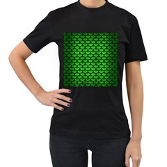 Scales3 Black Marble & Green Brushed Metal (r) Women s T Shirt (black) (two Sided)