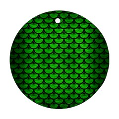 Scales3 Black Marble & Green Brushed Metal (r) Round Ornament (two Sides)