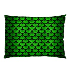 Scales3 Black Marble & Green Brushed Metal (r) Pillow Case