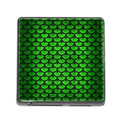 Scales3 Black Marble & Green Brushed Metal (r) Memory Card Reader (square)