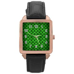 Scales3 Black Marble & Green Brushed Metal (r) Rose Gold Leather Watch