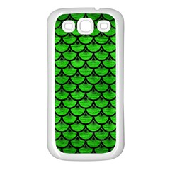 Scales3 Black Marble & Green Brushed Metal (r) Samsung Galaxy S3 Back Case (white)