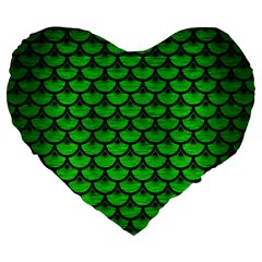 Scales3 Black Marble & Green Brushed Metal (r) Large 19  Premium Flano Heart Shape Cushions
