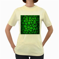 Skin1 Black Marble & Green Brushed Metal Women s Yellow T Shirt